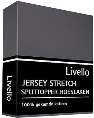 Livello Jersey Stretch Splittopper Hoeslaken Donkergrijs HLJ 155 SPLIT DGS   11897