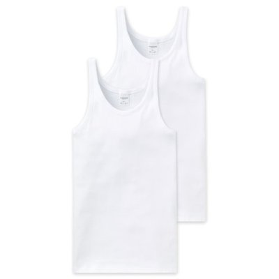 Schiesser Men Cotton Essentials Feinripp Singlets 2-Pack Wit 205144 | 8757
