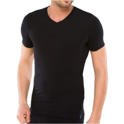 Schiesser Men Long Life Cotton T-Shirt V-hals Black 145140 | 12305