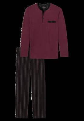 Schiesser Pyjama Zwart/Bordeaux 168128 | 21231