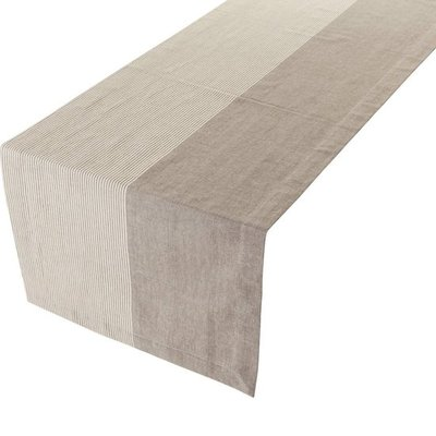 Linen&More Tafelloper Solid Stripes Grey 20606