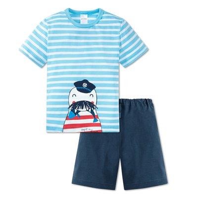 Schiesser Shortama Blauw tricot blauw - 805 156659 | 16635