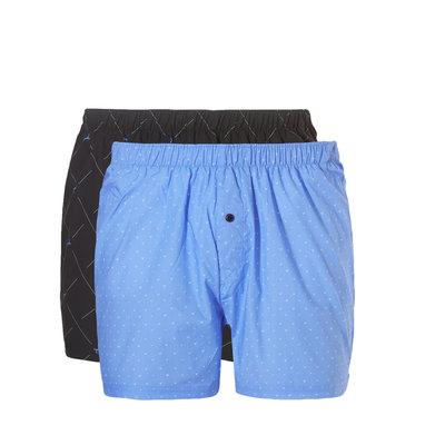 Ten Cate Men Woven Shorts Wyber Blue + Check Lines Black 30232 | 19122