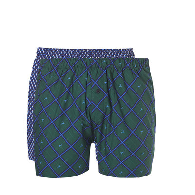 Ten Cate Men Woven Shorts Diamond Blue + Check Green 30232 | 19123