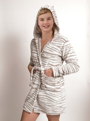 Outfitter Badjas Fleece Zebra Beige 20125