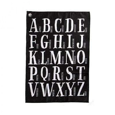Long Island Living Theedoek Alfabet Grijs 16446